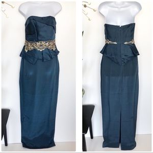 Marchesa Notte teal strapless embellished gown 2